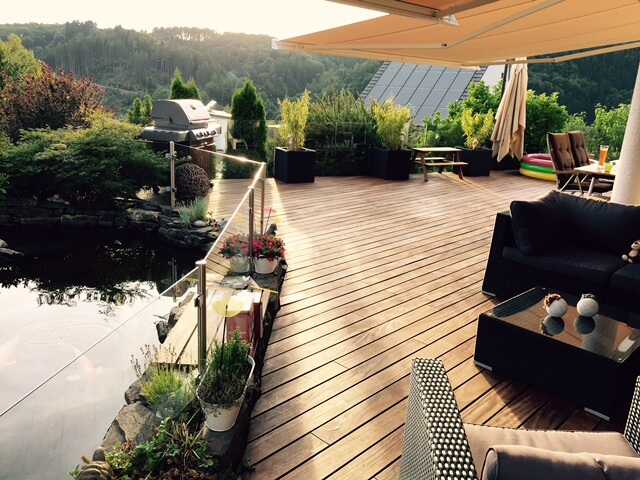 Douglasie Terrasse Erfahrungsberichte cumaru terrassendielen kaufen 120mm glatt gehobelt fsc 100