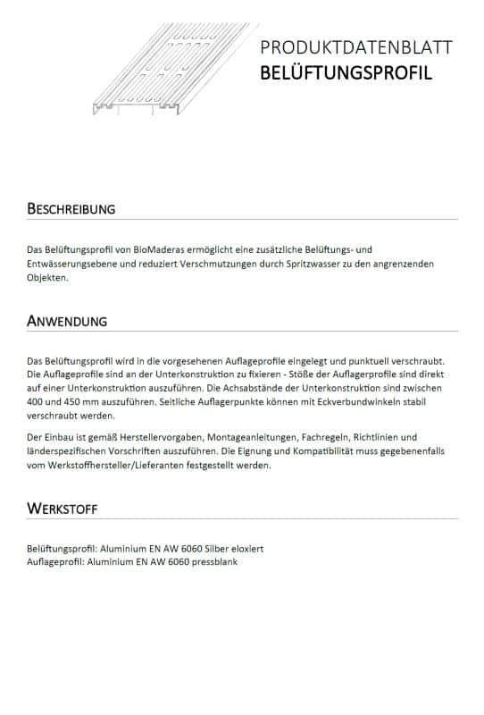 Datenblatt Belüftungsprofil